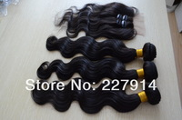 Free shipping Brazilian virgin hair body wave three/3 part lace closure with bundles 5A unprocessed brazilian wavy hair 4pcs lot