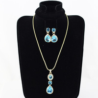 Free Shipping 2014 fashion women water drop  pendants necklace earring blue&wine crystal jewelry set for all occassions