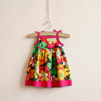 Wholesale 6pcs/lot 2014 New summer children girl clothing,2-6Y baby girls beach dress with colorful floral,high  kids clothes