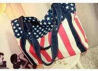 2014 Free Shipping+hot sale fashion American flag pattern preppy style woman canvas bag shoulder bag