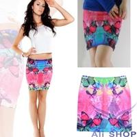 Brand New 2014 Spring summer Hot Women Korea Sexy Stylish Slim Short Butterfly Print Mini Skirt Female Pencil Skirts Saia 20192