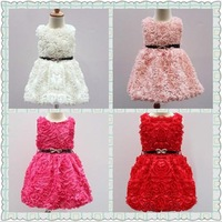 2014 New summer flower girls dress children sleeveless Princess dresses kid wedding clothing free shipping