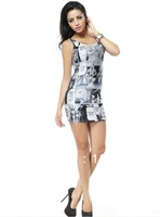 Wholesale  Retail 2014 Summer New Women Sexy Vest Dress Girls Bodycon Sleeveless Dresses Top Mini Clubwear Dress 05