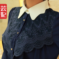 Women's shirt 2014 spring slim chiffon shirt women long-sleeve shirt female basic shirt