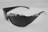 Popular Black Pinhole Glasses Unisex Vision Care Pin hole Eyeglasses Eye Exercise Eyesight Improve Plastic Free Shipping 100 pcs