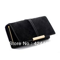 Women Wallets New 2014 Horse Hair Genuine leather long clutch purses three folds carteira feminina fashion money clips wholesale
