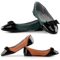 Free Shipping 4X 2014 Hot Selling New Womens Ladies Flat Ballet Ballerina Dolly Pumps Patent Toe Bow Shoes 2 Colors 5 Size