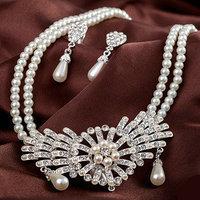 Free shipping Good quality pearl jewelry wedding jewelry fashion classic Bride fashion  necklace ear clip 2 piece set