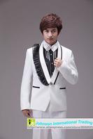 2014 New Style Slim men's Wedding dress White with Black edge Single buckle Jacket+Pant+Tie+Girdle