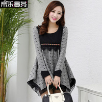 Spring 2014 skirt lace organza autumn and winter long-sleeve woolen one-piece dress expansion bottom