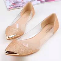 2014 Brand New Fashion Pointed Toe Metal Bordered Flats Shoes Europe Hyaline Glitter Women Shoes Free Shipping PD1085
