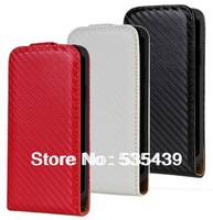 New 1 PCS 3 color luxury Noble concise Flip Leather carbon fiber Case For Samsung Galaxy S i9000 Plus i9001 + Screen Protector