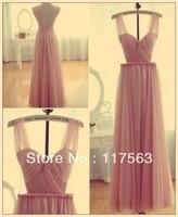 Real Photo Chic Cute Pink Long Nude Back Open Back Chiffon Night Prom Dress Women Free Shipping WH434