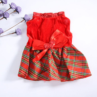 Pet Puppy Clothes Dog Red Grid Dress Costume Outwear Shirt Heart Bow Apparel LX0222 Free &Drop shipping