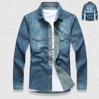2014 Spring Autumn Men's Long Sleeve Polo Collar Blue Denim Shirt male autumn , Plus Size  Male Casual Jeans Blouses Man Camisa