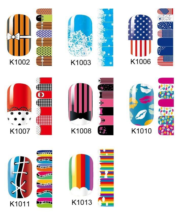 5 Pieces lot New cartoon nail art DIY nail art stickers adhesive Free shipping fingernail sticker