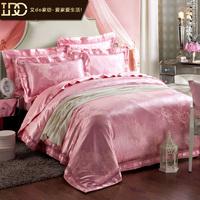 Do 100% luxury home textile cotton satin jacquard four piece set fashion royal wedding four piece set