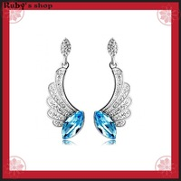 Sale Angel wings White Gold Plated crystal 925 Sterling Silver Drop earings with  AAA Cubic Zirconia Women's jewelry 506027