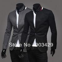 2014 Spring stand collar men's classic fashion slim fit design casual tuxedo blazers suit jacket size M-XXL