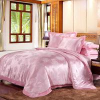 Home textile satin big jacquard soft cotton piece set four piece bedding set