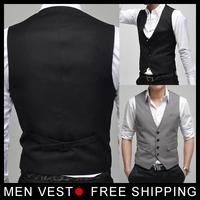 2014 Men's Formal Suit Vest Top Slim & Fitted Luxury business Male Dress Vest for Male mens Weskit 4 buttons size M- XXXL