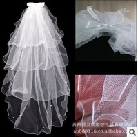2014 bride wedding veil T14-4 four layers of white fish silk edge bowknot veil