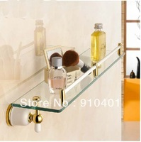 Free shipping Wholesale And Retail Promotion Luxury White Painting Golden Brass Bathroom Glass Shelf Shower Storage Holder