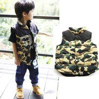 2014 new autumn baby clothing  vest for boys/  Camouflage winter colete roupa infantil blusas femininas free shipping