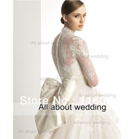High Neck Long Sleeve Ball Gown Wedding dresses Sheer Lace Shoulder Big Bow Tie Back 2014 Real Image Custom Make