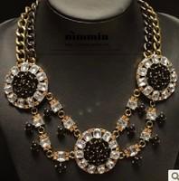 Free shipping Fashion two-color chain vintage tyranids pearl big circle pendant necklace fashion vintage