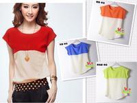 2014 Summer new chiffon shirt stitching color linen yarns T-shirt plus size short sleeve chiffon shirt 7