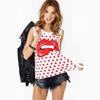 HD123 HAODUOYI 2014 spring summer new women fashion hot big red lips hiphop printed dots tee tops t-shirts Plus size sleeveless