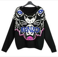 New trend 2014 spring Hot sale tiger head Designer Embroidery dazzle colour Loose big yards pullover Women sweater