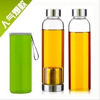 Transparent glass leakproof bottle lid filtering cup portable movement