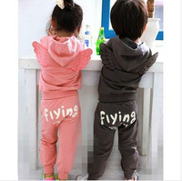 2014 new high quality~New style Baby spring/autumn cotton clothing (hoodies+pants) boy girl Angel wings tracksuit set,