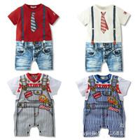 Summer Baby Clothing Gentlemen Style Overall Infant Romper Newborn Boy Vestidos Print Baby Wear Baby Rompers Jumpsuit