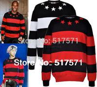 Men/women  givency Star Striped Sweatshirt Jumper Black Red Designer Celebrity BigBang GD Hoody Sweater