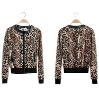 Free shipping 2014 New Design women's cheap long-sleeve short jacket, leopard print jacket,  PU leather jacket, female coat