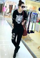 2014 New Fashion Autumn Winter Plus Size Velvet Tiger Leopard  Casual Loose Sports Sweatshirt Set  Hot Sale Tracksuit For Women