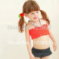 Princess Lolita 2014 Korean hit color cute child swimsuit girls swimsuit three-piece split