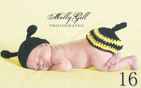 Free shipping 100% Pure Handmade Cute   honey bee baby  clothing  set  Crochet newborn photography props