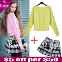 HOT Sale 2015 Spring Rabbit Fur Long-sleeve Pullover Knitted Sweater & Sweatshirt High Waist Short Skirt Casual Set Women's