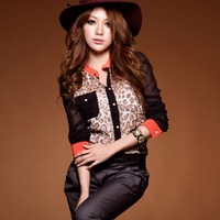 2014 Spring Summer FAHION HOT BRAND!New in arrival girl sexy dress British style color leopard print chiffon yarn shirt 118291