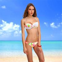 2014 New Arrival White Swimsuit For Women Bikini Swimwear Floral Print VS Bikinis Beachwear Bathing Suits