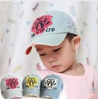 free shipping 2-10 yearsold new design Spring Children Cartoon Tiger Head Jean baseball cap , fashion Children's hat