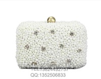Free shipping Two Sided Beaded  vintage square pearl ,Evening Bag, Clutch Bags, Chain bag