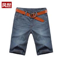 Summer men's clothing male trousers plus size denim shorts slim straight pants