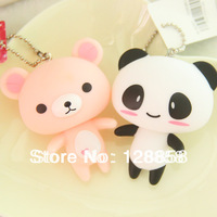 "3"" Bear Keychain Panda Charm Kawaii Bag Ring Phone Strap Pendant Animal DIY Accessories And Cute Gift"