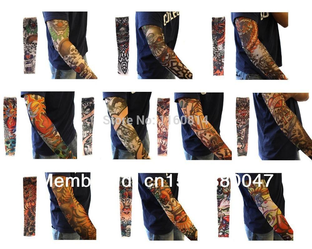 10pc Falso Tatuagem Temporária mangas Body Art Braço Meias Acessórios - desenhos tribais , Dragon , Skull , e Etc.(China (Mainland))