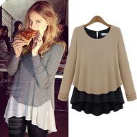2014 new spring women chiffon shirts long sleeve pattern splice  O neck base shirts & skirts sweet feeling